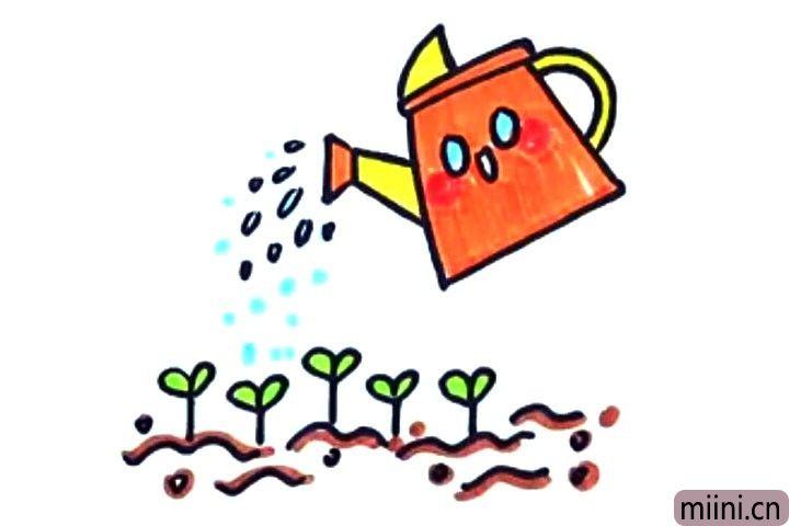 植树节快到了,画一个小水壶给树苗浇水