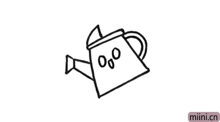 4.给水壶画上可爱的表情,水壶就完成了。