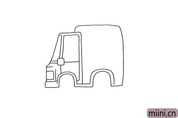 4.还有它的后车厢和后轮眉部分也勾勒出来。