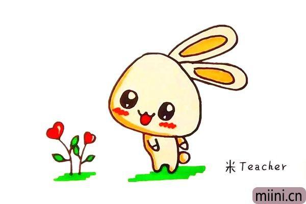 8.最后把可爱的小兔子涂上漂亮的颜色吧。