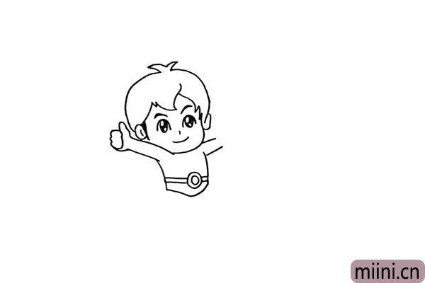 5.向下画出他的手臂和他的裤头部分。