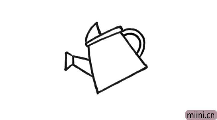 3.然后画水壶的喷嘴和把手。