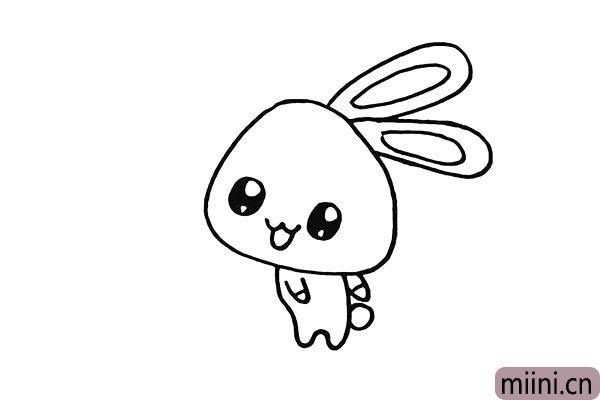 6.再来画出小兔子的手臂还有它的尾巴。