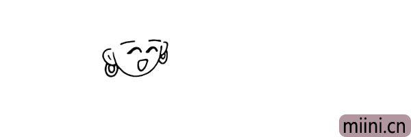 4.再画出她的双耳和耳朵上的耳环。