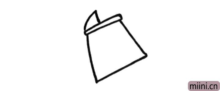 2.接着画水壶的顶部。
