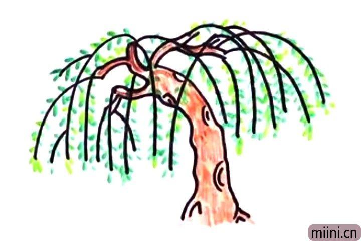万条垂下绿丝绦,柳树简笔画教程