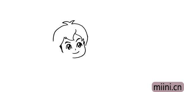 3.以及他的发型.仔细观察刘海部分。