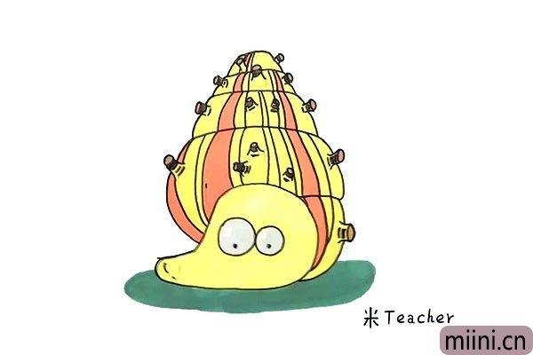 在海里蠕动的海螺简笔画步骤教程