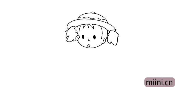 5.向上画出她的帽子.注意帽子上的纹理部分。