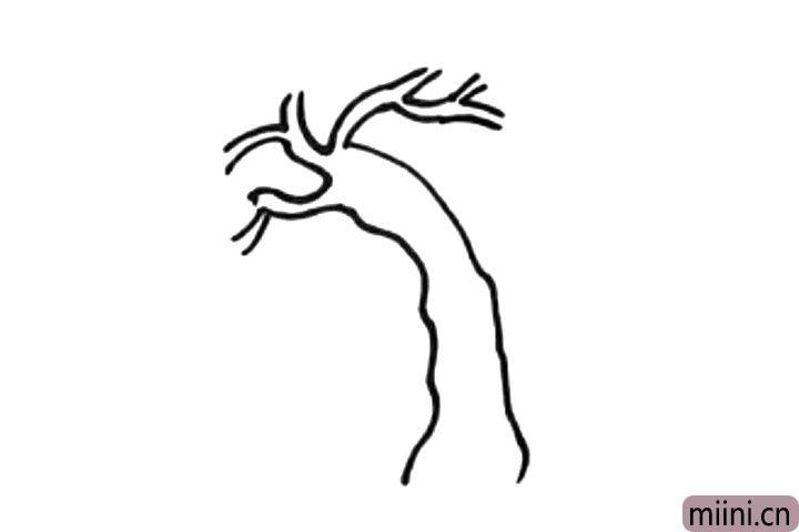 2.接着画树干上的树杈。