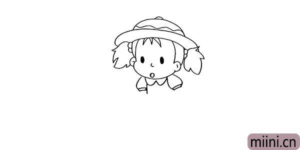 6.再来画出小梅的衣领以及她的袖口部分。