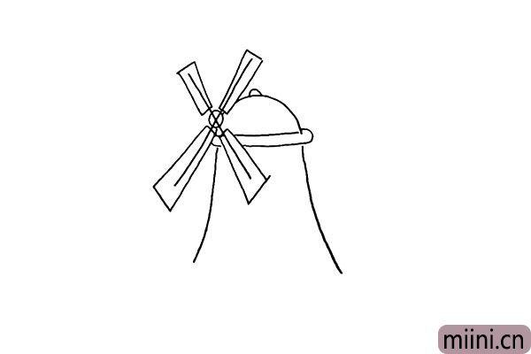 4.以及用弧线画出房身。