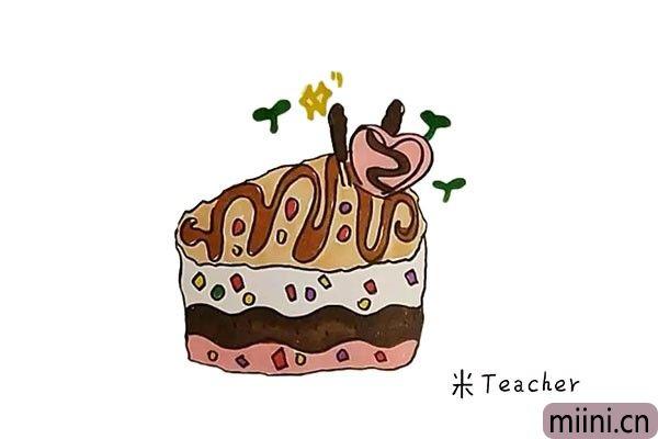 7.最后我们把甜品蛋糕涂上漂亮的颜色吧。