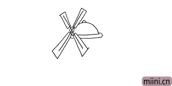3.再把小屋的屋顶勾勒出来。