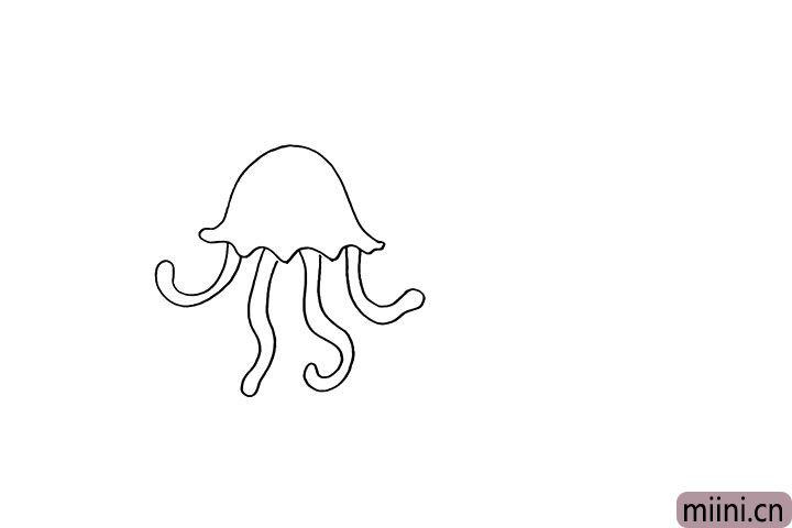 2.再来用曲线向下画出水母的触角。