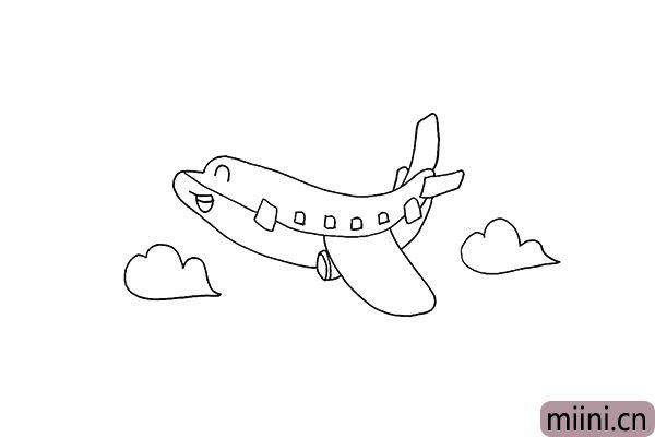 7.我们把飞机的窗户也勾勒出来。