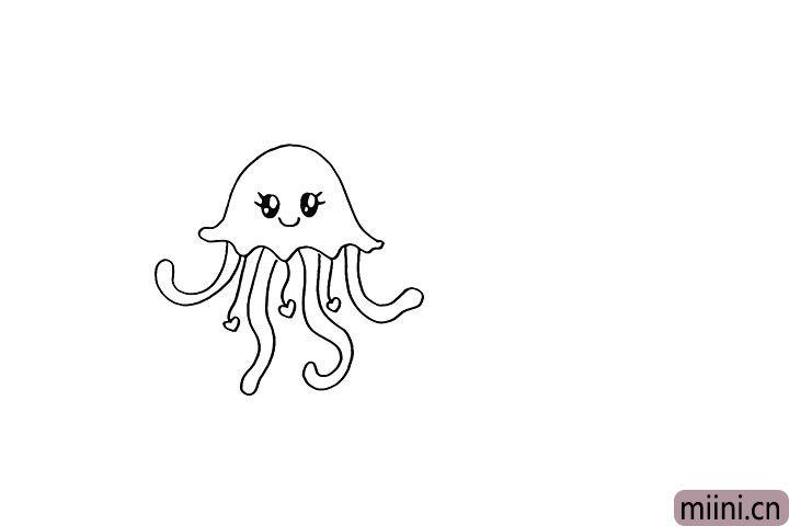 4.然后画出水母可爱的表情。