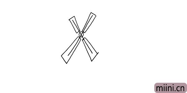 2.围绕字母X勾勒出风叶。