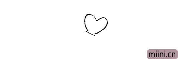 1.首先在右上角画一个爱心。