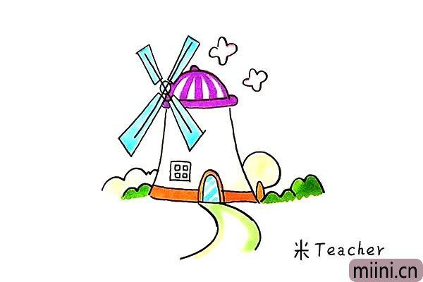 9.最后我们把风车涂上漂亮的颜色吧。