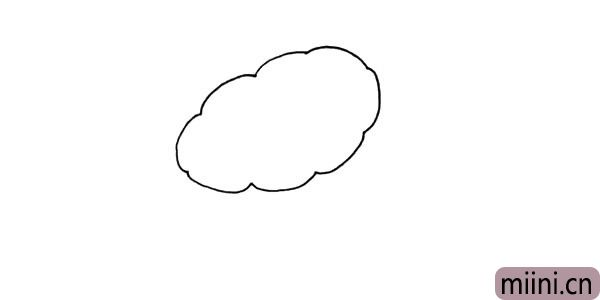 1.首先我们画出花瓣.像云朵一样的喇叭花。