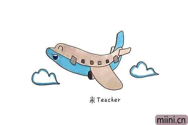 8.最后把画好的飞机涂上漂亮的颜色吧。