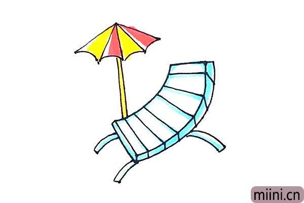 7.最后涂上好看的颜色,沙滩椅就画好了。
