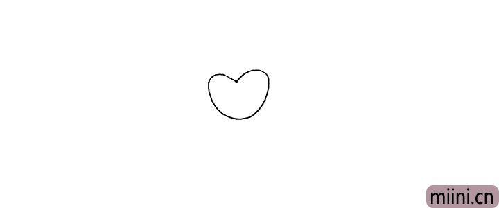1.首先在画纸的中间画一个爱心作为书生的脸颊。