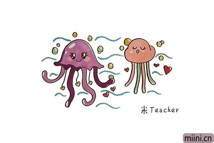 两只恋爱中的水母简笔画步骤教程