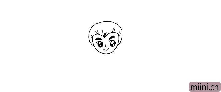 3.向上用曲线画出他的头发。