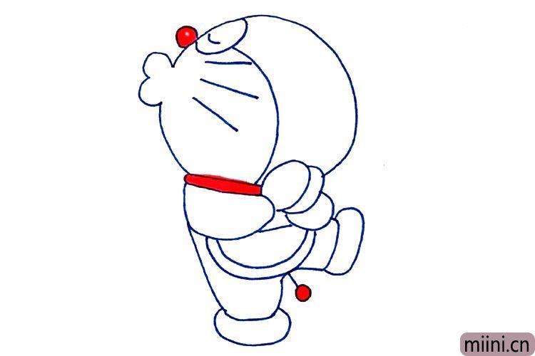 8.鼻子围巾和尾巴涂上红色。