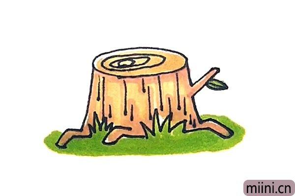 被光头强伐木过后的树桩简笔画步骤教程
