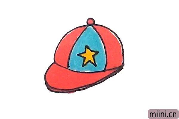 5.最后涂上漂亮的颜色,鸭舌帽就画好了。
