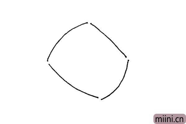 1.先画上一个有缺口的四方形。