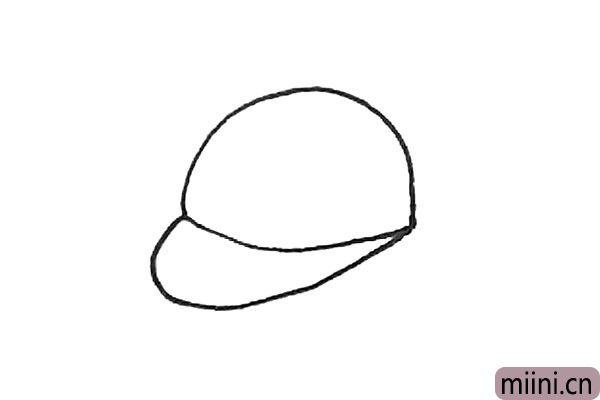 2.前面,再用一条弧线画出帽檐的感觉。