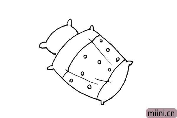 5.用同样的方法再画上一个枕头。