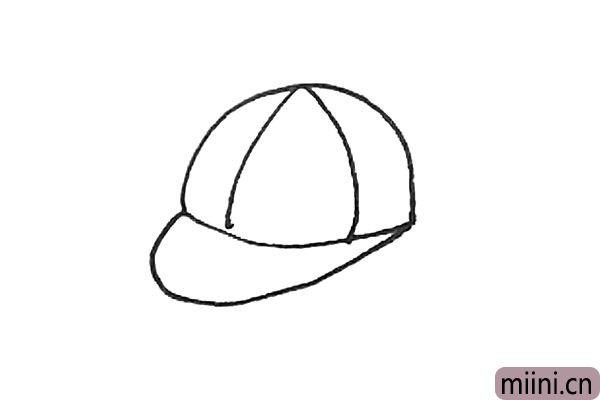 3.接着在半圆里面画上弧线作为鸭舌帽的结构。