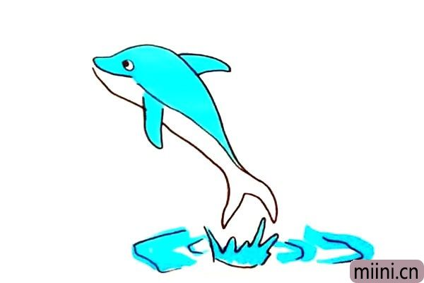 跃出水面的海豚简笔画步骤教程