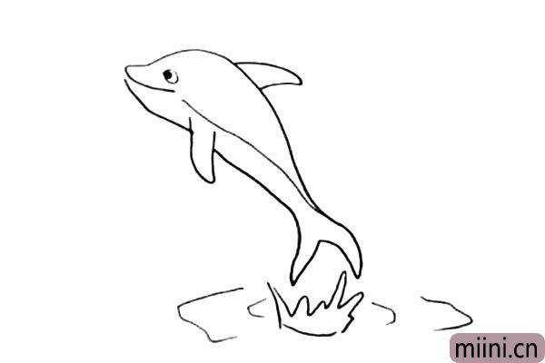 8.在把海豚的下面装饰一下.画上它跃水而出的波浪。