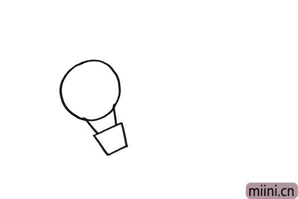 3.然后在拉绳上面画一个大大的圆。