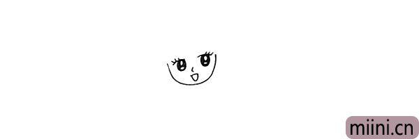3.画出美少女的鼻子和嘴巴。