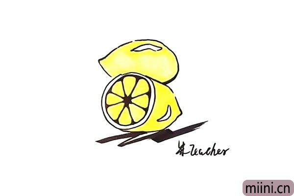 8.最后我们把画好的柠檬涂上漂亮的颜色。
