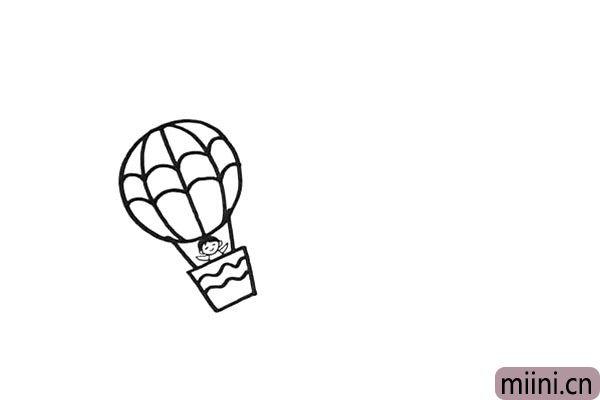 7.再来把吊篮里面画一个小朋友。