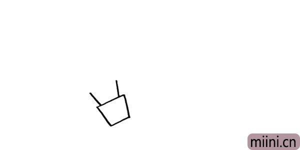 2.在梯形的上边连接出两根拉绳。