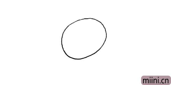 1.首先我们画上小花猫的头部轮廓.一个倾斜的椭圆。