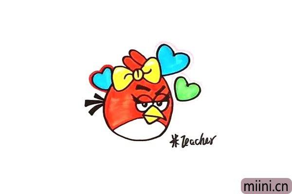 10.一只既可爱又愤怒的小鸟就画了.把它涂上漂亮的颜色。