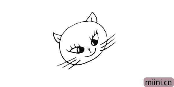 3.画上它的小鼻子和嘴巴.上面还有两个尖耳朵.脸上几根长胡须。
