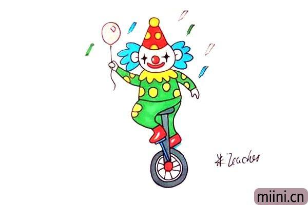 骑独轮车玩杂耍的小丑简笔画步骤教程
