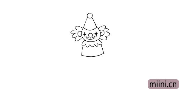 7.然后在画出小丑的身体.领子是一条弯曲的波浪线。