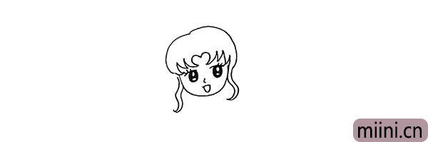 5.在两侧画出散落下来的两缕头发丝。